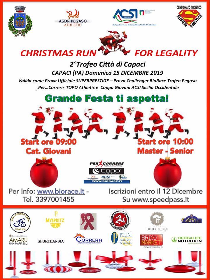 """Gran finale SuperPrestige, domenica 15 dicembre '19, a Capaci si corre la """" Christmas Run For Legality� organizzata dalla ASD Polisportiva Pegaso Athletic"""