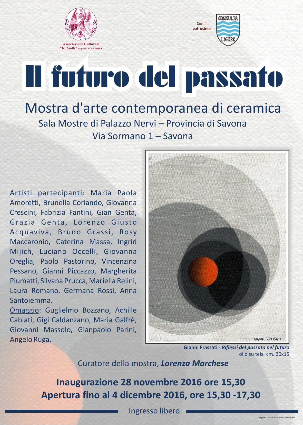Mostra di opere artistiche in ceramica, Sala della Provincia di Savona, lunedì 28 novembre ore 15.30