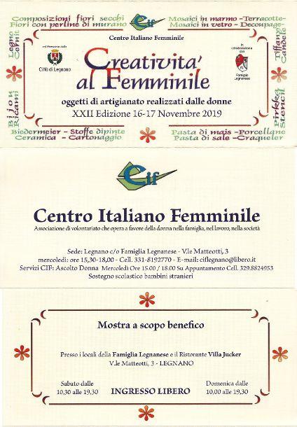 CIF Legnano: Creatività al femminile 2019