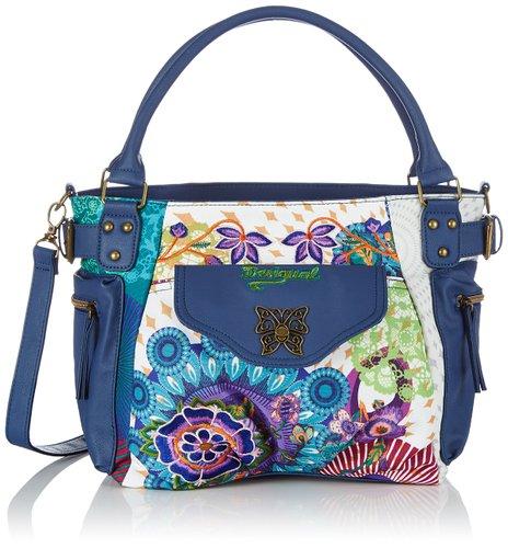 borsa desigual london floreada carry blu