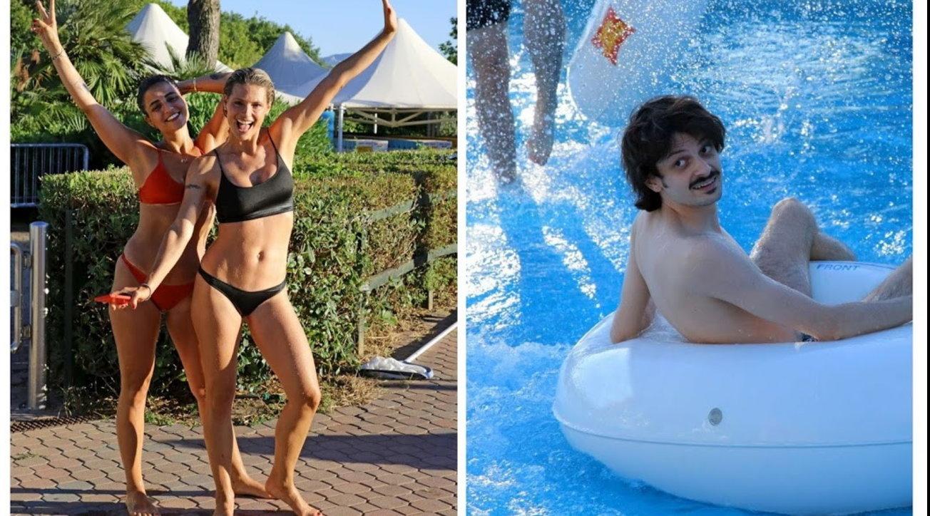 Michelle Hunziker e Fabio Rovazzi, che gruppo vacanze sugli scivoli a Riccione!