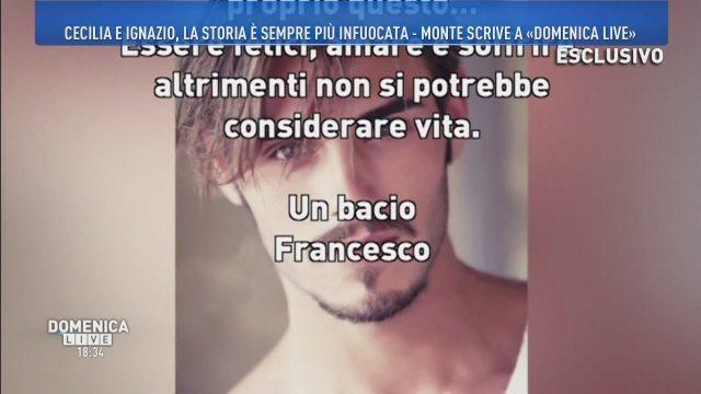 Domenica Live, la lettera di Francesco Monte a Barbara D'Urso