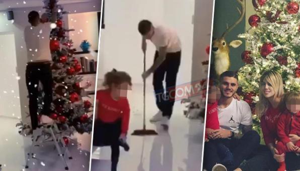 E' Natale a casa Icardi, Mauro e Wanda fanno l'albero e... posano con la renna