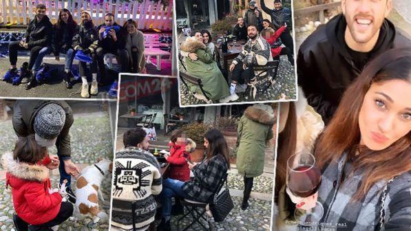Belen & family, pranzo in trattoria e risate sui pattini