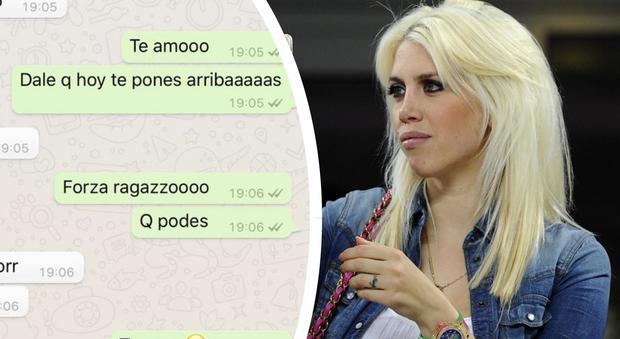"""Wanda Nara esulta per Icardi e pubblica la chat Whatsapp: """"Forza ragazzo, ti amo"""""""