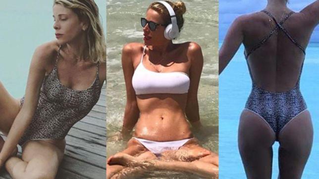 Per Alessia Marcuzzi lo yoga in acqua è hot