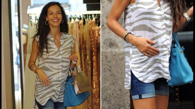 Laura Barriales incinta, guarda il suo shopping milanese