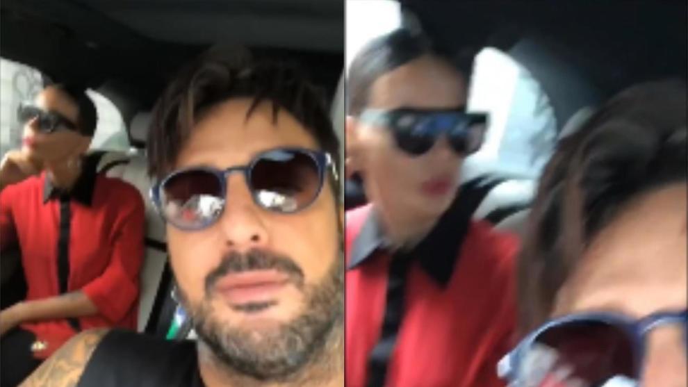 Fabrizio Corona e Nina Moric, la lite in auto col figlio Carlos finisce su Instagram