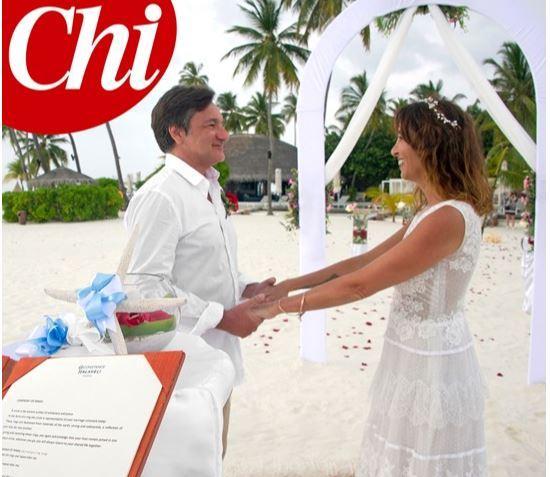 Benedetta Parodi e Fabio Caressa, l'album di nozze dalle Maldive