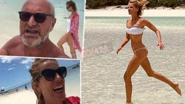 Alessia Marcuzzi ai Caraibi, bikini mozzafiato e risate con Pucci