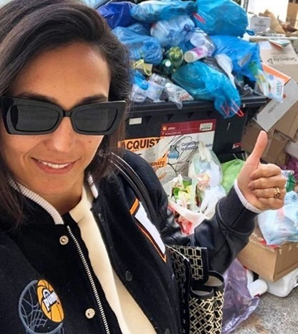 Caterina Balivo con un post salvate Roma dalla spazzatura