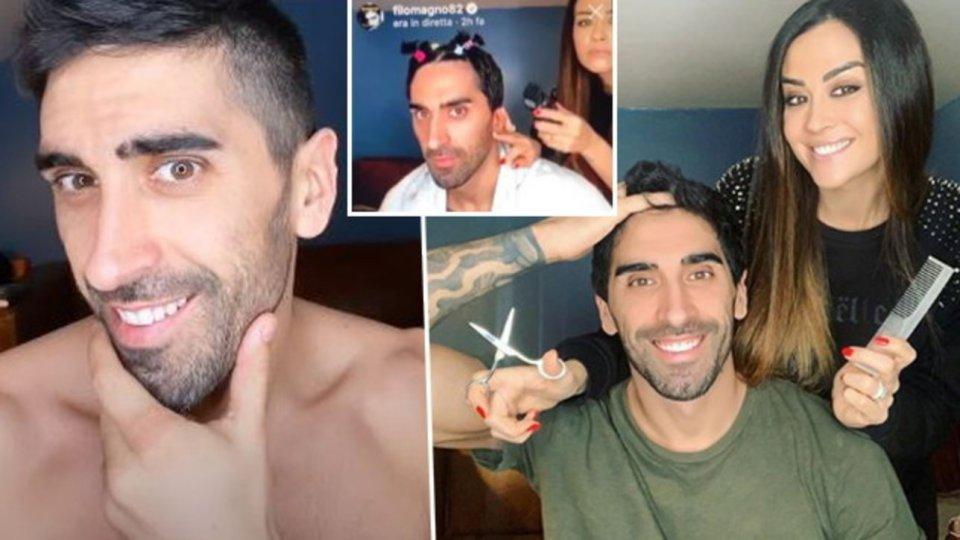 Giorgia Palmas nei panni di barbiere a casa per Filippo Magnini