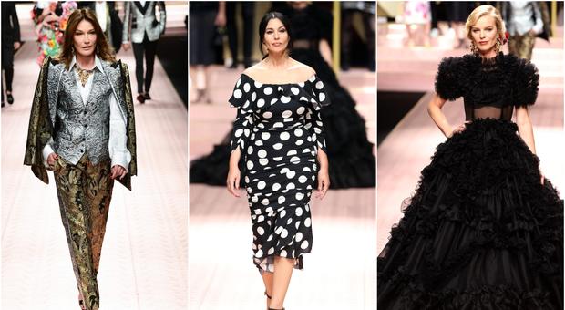 Dolce e Gabbana strega Milano, in passerella Monica Bellucci, Carla Bruni e Eva Herzigova
