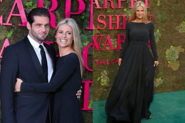 Michelle Hunziker sfila con Tomaso, tenerezze di gala a Milano