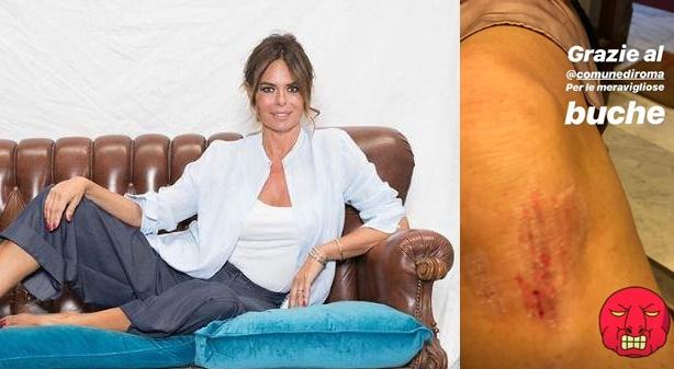 Paola Perego cade nella buca e si fa male: