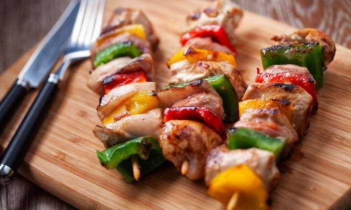 Spiedini di carne e verdura