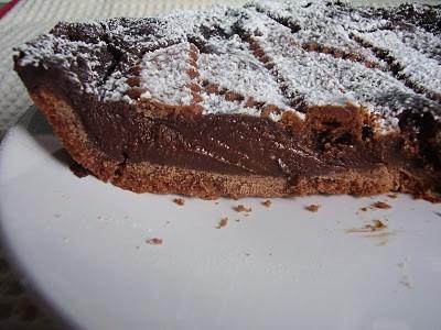 Crostata al cacao e ganache di cioccolato e crema pasticcera