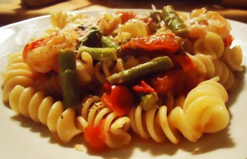 Fusilli con gamberi e asparagi - Ricette di Sardegna