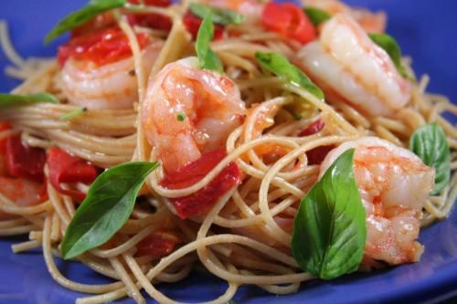 Spaghetti ai gamberi e peperoni