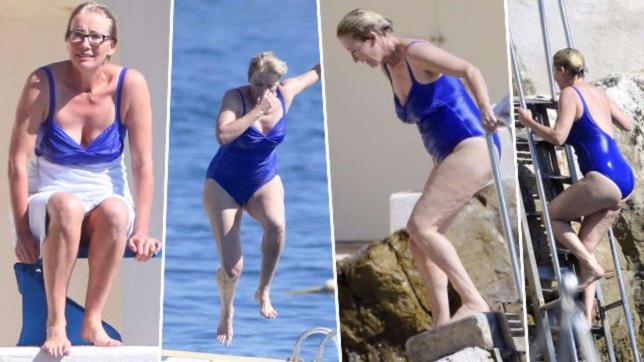 Emma Thompson, momento di relax all'Eden Roc di Cannes, tra bagni di sole e tuffi spericolati