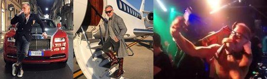 Gianluca Vacchi, dalla Rolls Royce all'aereo privato, poi dj set scatenato