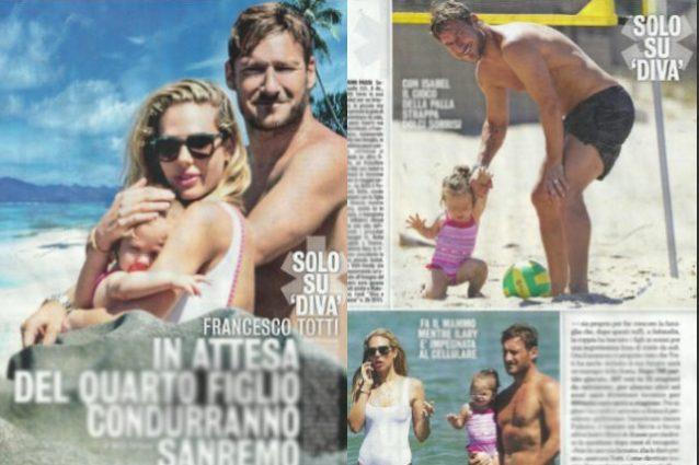 Francesco Totti papà a tempo pieno: al mare con Isabel e Cristian