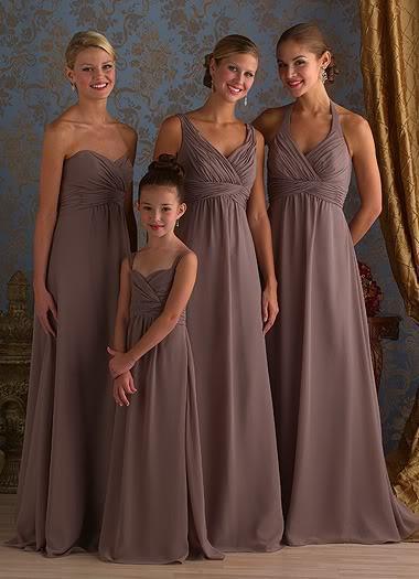 best cheap 2b9f6 e7675 Elegante completo lunghezza chiffon vestito da damigella d'onore