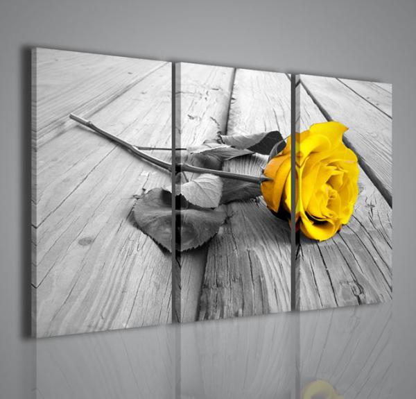 Quadri Moderni-Quadri Fiori e Piante-Yellow Rose Wood