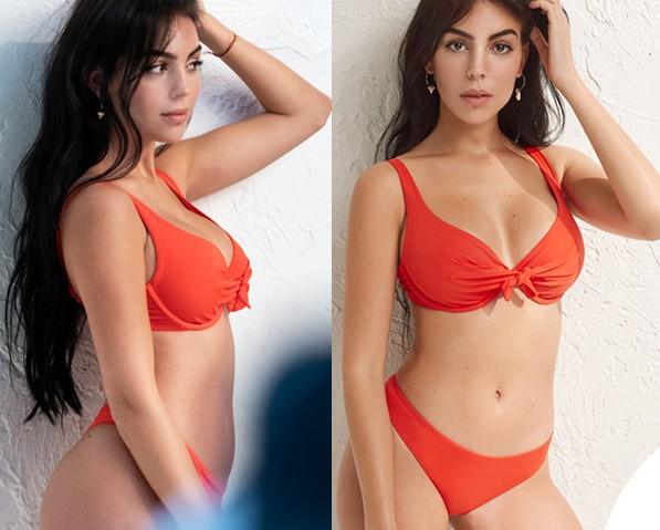 Georgina in bikini rosso fa il pieno di like