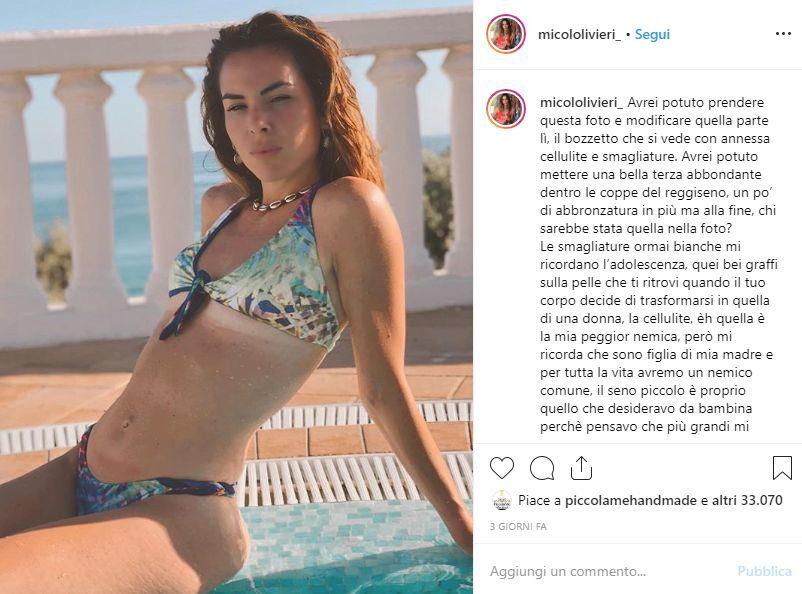 Micol Olivieri senza filtri sui social: «Ho smagliature e cellulite, ma amo il mio corpo»