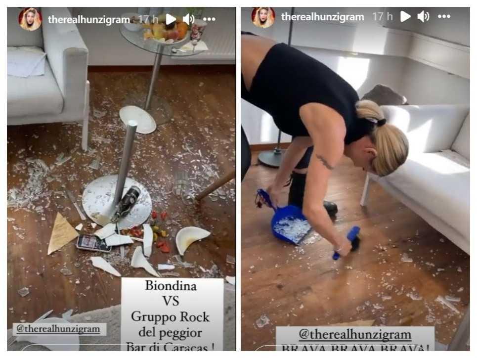 Michelle Hunziker combina guai ha rotto un tavolino