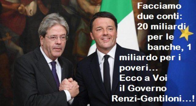 Facciamo due conti: 20 miliardi per le banche, 1 miliardo per i poveri... Ecco a Voi il Governo Renzi-Gentiloni...!