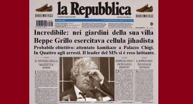 Incredibile: nei giardini della villa di Beppe Grillo si esercitava una cellula jihadista. Progettava un attentato a Palazzo Chigi. Il leader del M5s si è reso latitante.