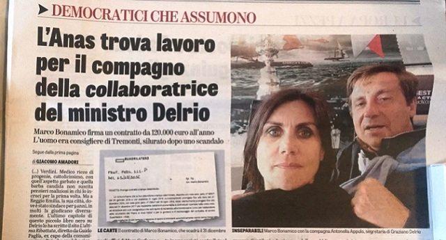 """L'Anas assume Dirigente con il seguente curriculum: """"compagno della segretaria di Delrio"""" …Ma Delrio non è dei Cinquestelle ed allora i Tg MUTI…!!!"""