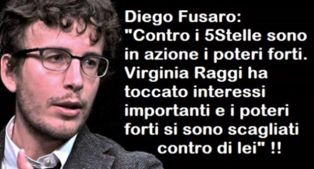"""Diego Fusaro: """"Contro i 5Stelle sono in azione i poteri forti. Virginia Raggi ha toccato interessi importanti e i poteri forti si sono scagliati contro di lei"""""""