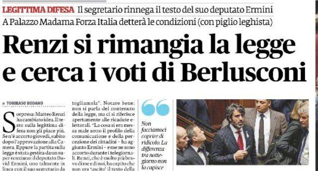 Legge Legittima Difesa - Il Pd di Renzi è riuscito a: 1) approvare una legge; 2) dire che non la volevano approvare; 3) chiedere aiuto a Berlusconi per peggiorarla; 4) scontentare tutti...!