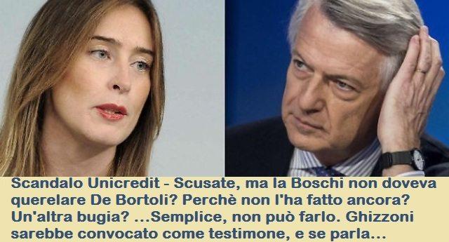 Scandalo Unicredit - Scusate, ma la Boschi non doveva querelare De Bortoli? Perchè non l'ha fatto ancora? Un'altra bugia? ...Semplice, non può farlo. Ghizzoni sarebbe convocato come testimone, e se parla...
