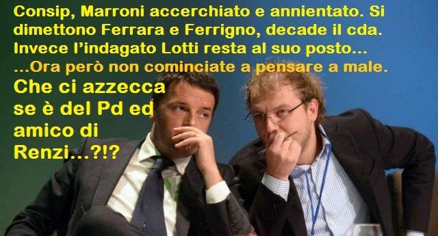 Consip, Marroni accerchiato e annientato. Si dimettono Ferrara e Ferrigno, decade il cda. Invece l'indagato Lotti resta al suo posto... Ora però non cominciate a pensare a male. Che ci azzecca se è del Pd ed amico di Renzi...?!?