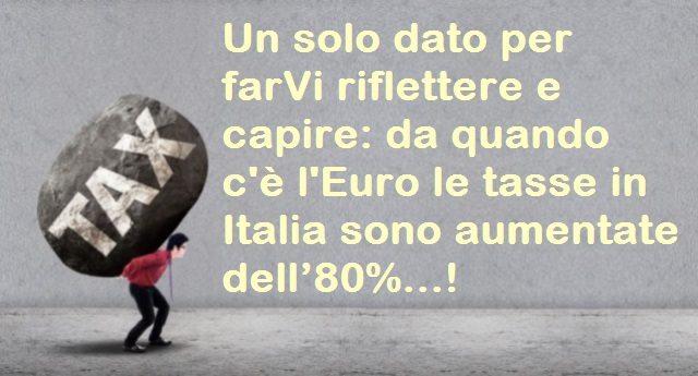Un solo dato per farVi riflettere e capire: da quando c'è l'Euro le tasse in Italia sono aumentate dell'80%...!