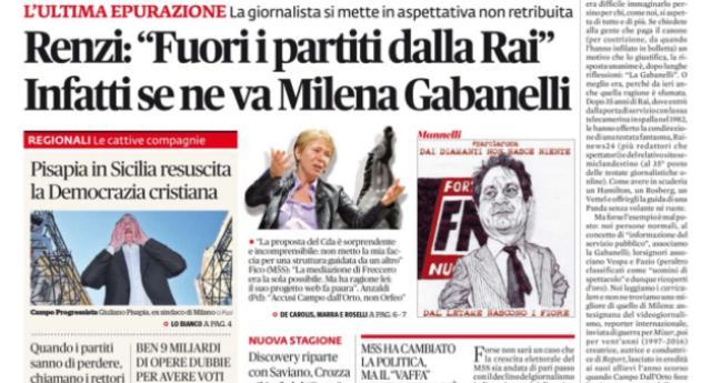 """Renzi: """"Fuori i partiti dalla Rai"""". Infatti se ne va Milena Gabanelli e restano i partiti!"""