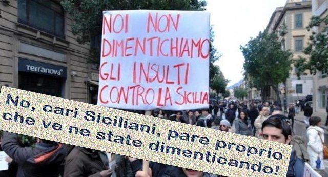 """""""Noi non dimentichiamo gli insulti contro la Sicilia"""" - No, cari Siciliani, pare proprio che ve ne state dimenticando. Vi rinfreschiamo la memoria: 25 anni di insulti leghisti contro il Sud."""