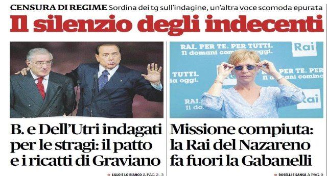 IL SILENZIO DEGLI INDECENTI! Berlusconi di nuovo sotto inchiesta per Mafia. La Gabanelli un'altra voce scomoda fatta finalmente fuori dalla Rai. Renzi insultato ad ogni fermata del suo treno. Ma i Tg MUTI...!!!!!!!