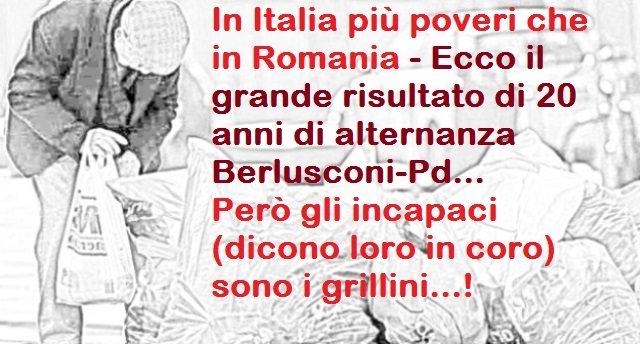 In Italia più poveri che in Romania - Ecco il grande risultato di 20 anni di alternanza Berlusconi-Pd... Però gli incapaci (dicono loro in coro) sono i grillini...!