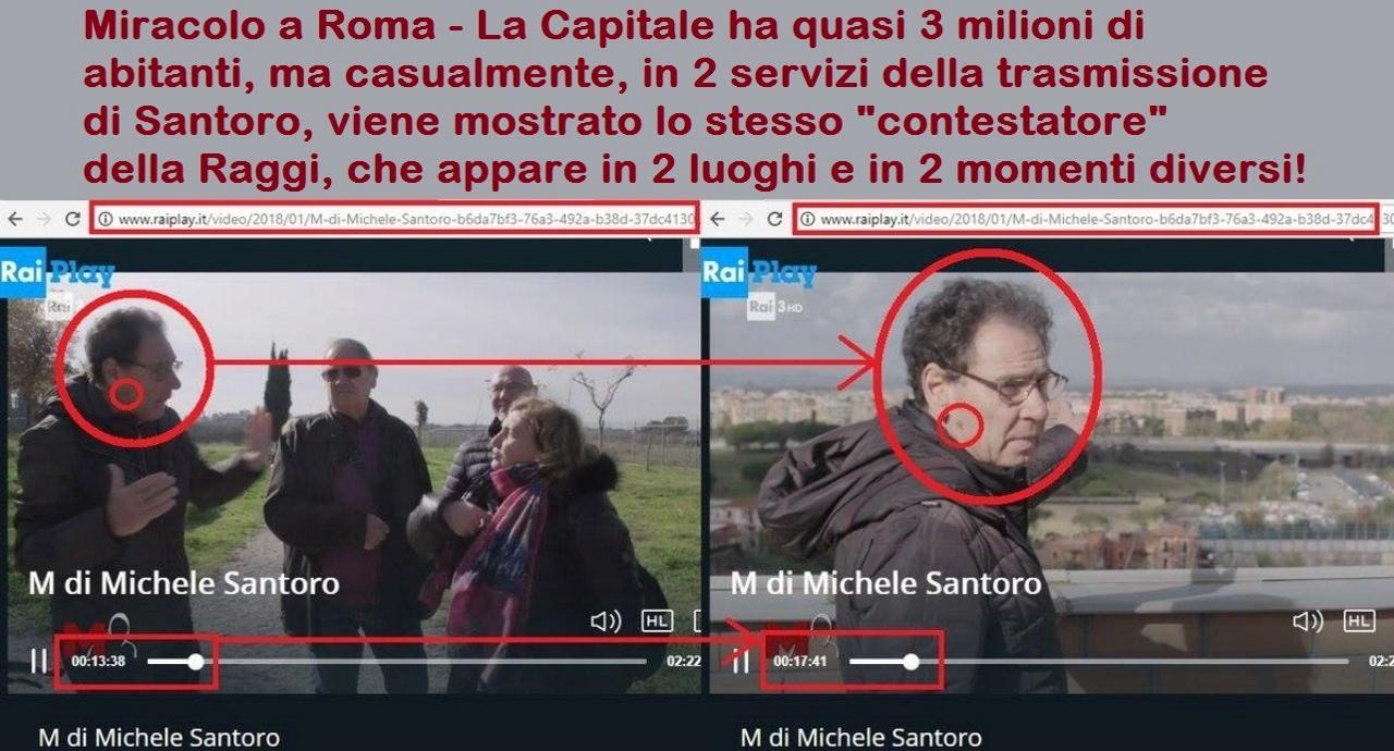 """Miracolo a Roma - La Capitale ha quasi 3 milioni di abitanti, ma casualmente, in 2 servizi della trasmissione  di Santoro, viene mostrato lo stesso """"contestatore"""" della Raggi, che appare in 2 luoghi e in 2 momenti diversi!"""