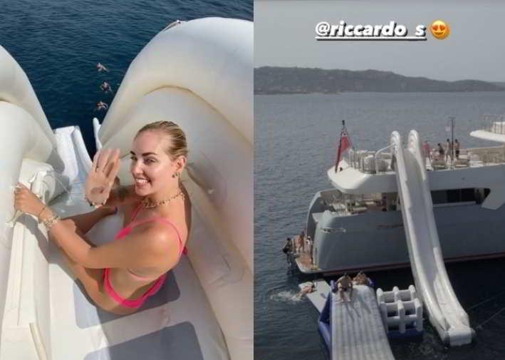 Chiara Ferragni sul mega yacht con super scivolo. Fedez terrorizzato: «È troppo alto»