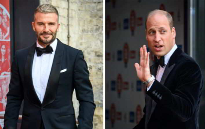 Il principe William e David Beckham, smoking e risate (per una buona causa)