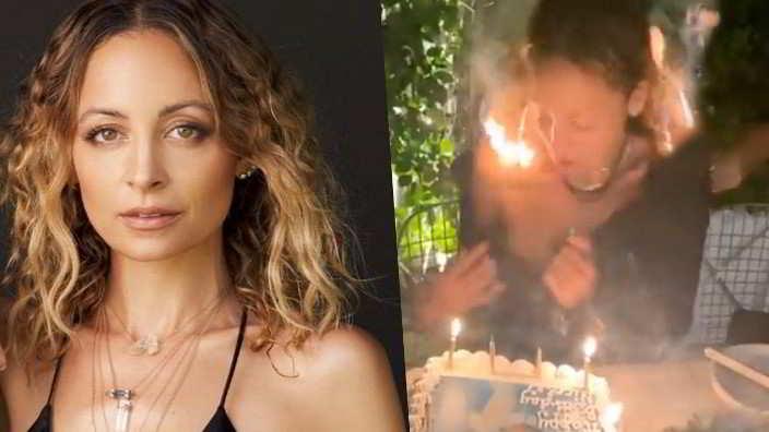 Nicole Richie si dà fuoco ai capelli mentre soffia le candeline