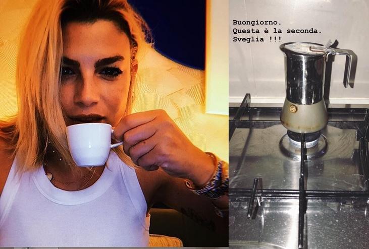Emma Marrone beve il caffè, ma la cucina è sporca. Lei risponde: «Non vi si regge»