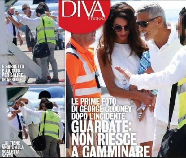 George Clooney, prima uscita in pubblico dopo l'incidente: non riesce a salire in aereo, Amal lo sorregge