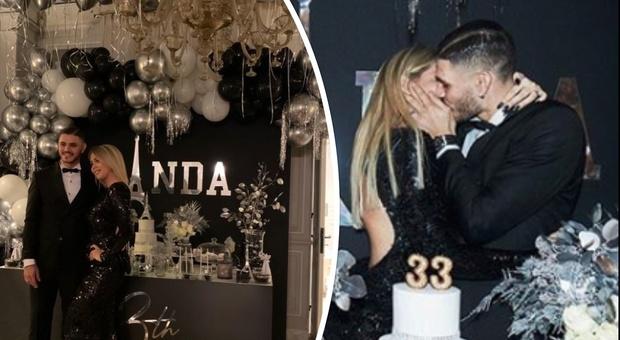 Wanda Nara, party esclusivo per il suo compleanno: cristalli, trenini e baci appassionati